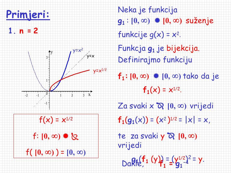 Primjeri: Neka je funkcija g1 : [0, )  [0, ) suženje